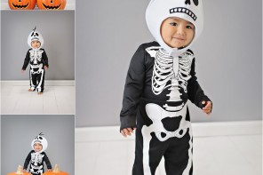 Halloween photos of the kids, baby's first year, baby's first Halloween, skeleton costume for baby
