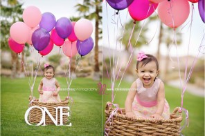baby's first birthday, baby girl with pink and purple balloons, hot air balloon photos