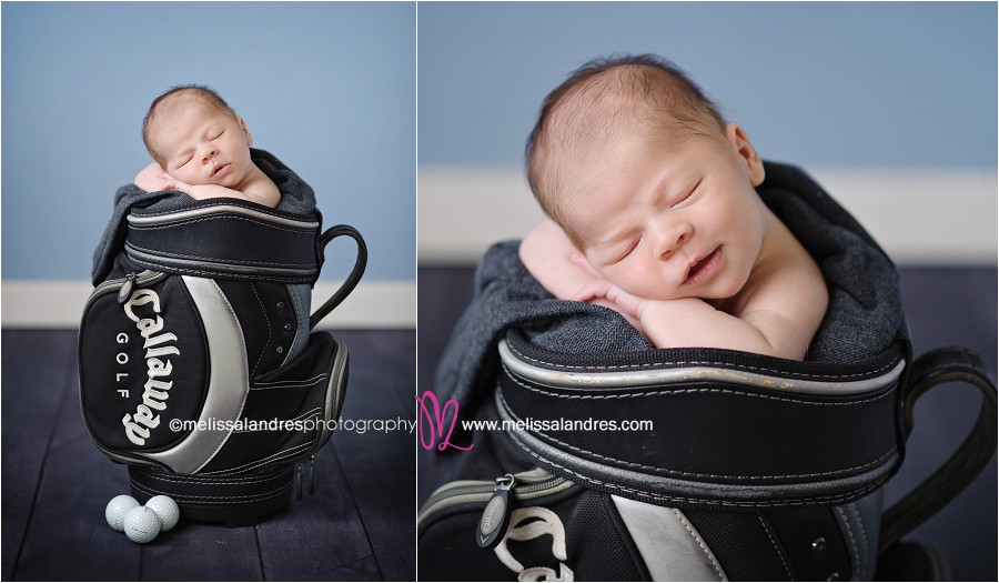 Indio baby photography baby boy in cute golf bag prop sleeping and smiling by