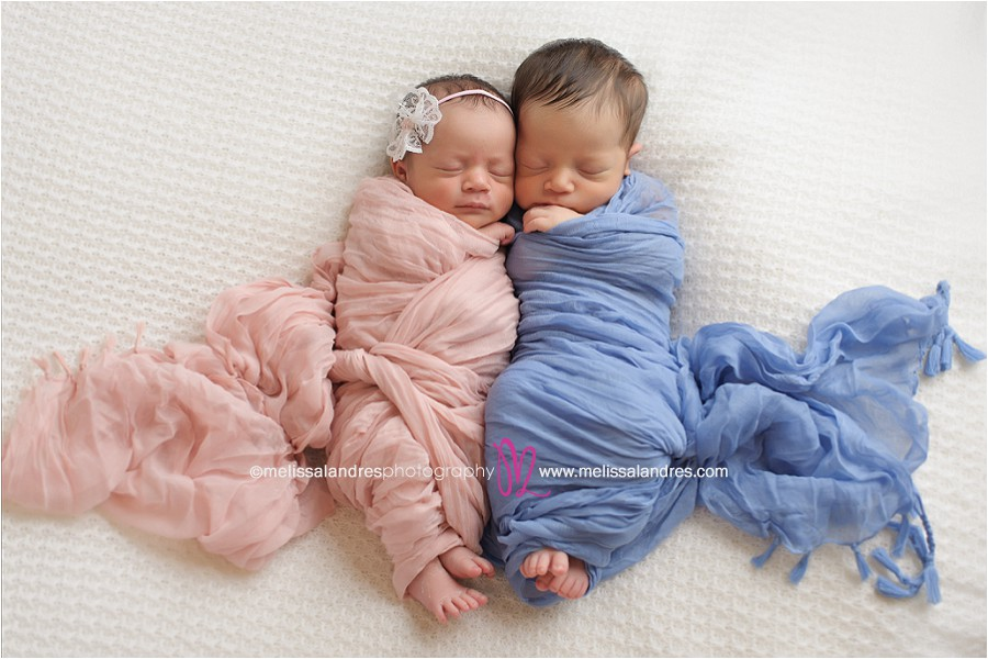 Brother and sister pink and blue newborn baby twins photography