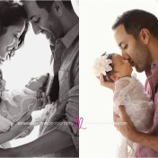 newborn baby family photos, daddy kissing baby girl in the window light