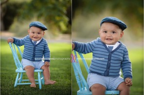 babies photos Indio CA, adorable baby wearing striped sweater and necktie with kids blue cap, vintage props, kids photos