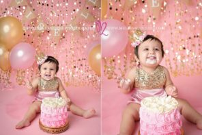 cake smash photos pink and gold Melissa Landres photography
